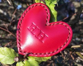 Personalised leather love token. Love heart gift, third wedding anniversary, love memento, Valentine's Day gift. Handstitched