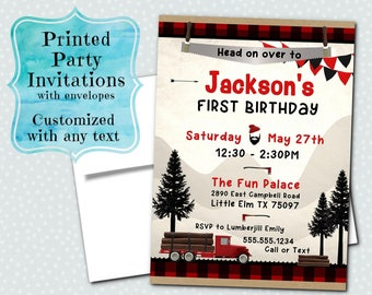 Printed Party Invitations, Invite with Envelope, Birthday, Baby Shower, Lumberjack, Red & Black Plaid Flannel Check, Logging Truck, Timber