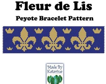 Peyote Pattern - Fleur de Lis - INSTANT DOWNLOAD PDF - Peyote Stitch Bracelet Pattern - One Drop Even Peyote Stitch