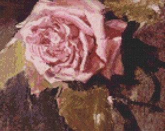 Rose Cross Stitch Kit, Una Rosa Cross Stitch, Embroidery Kit, Art Cross Stitch, Floral Cross Stitch, Ignacio Pinazo Camarlench