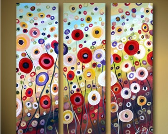 Original Abstract Whimsical Oil Painting DANCING FLOWERS Triptych Art CUSTOM