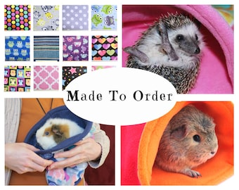 Custom guinea pig fleece snuggle sack | hedgehog | fleece accessories | chinchilla | ferret | bunny | cozy | bag | MADE TO ORDER
