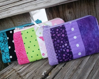 Patchwork Coin Purse,  Small Zipper Wallet, Change Purse, Ear Bud Pouch, Ladies Zipper Bag, credit card pouch