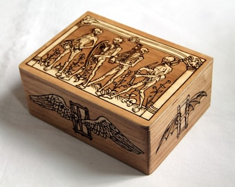 Wooden box carved with memento mori, medieval engraving, Death, gothic, danse macabre, storage box, skeleton, hourglass, wood chest