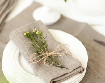 Softened linen napkins set of 6 - Rustic wedding napkins - Linen napkins - Gray napkins - Organic napkin cloth