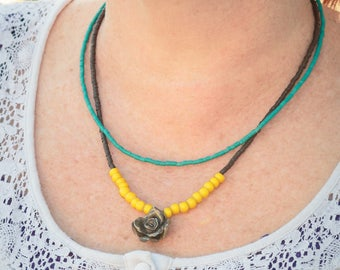 Silver Rose Trade Bead Yellow blue Handmade Boho Turquoise African Hill Tribe Silver Brown Ethnic
