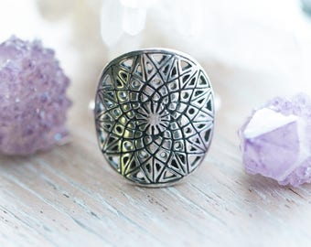 Selene Mandala Ring, Engraved Ring, 925 Sterling Silver Ring, Boho Ring, Gypsy Solid Sterling Statement Ring, Personalized Ring, Handmade