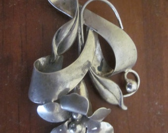 "3"" sterling brooch, large flower, signed sterling, huge pin"