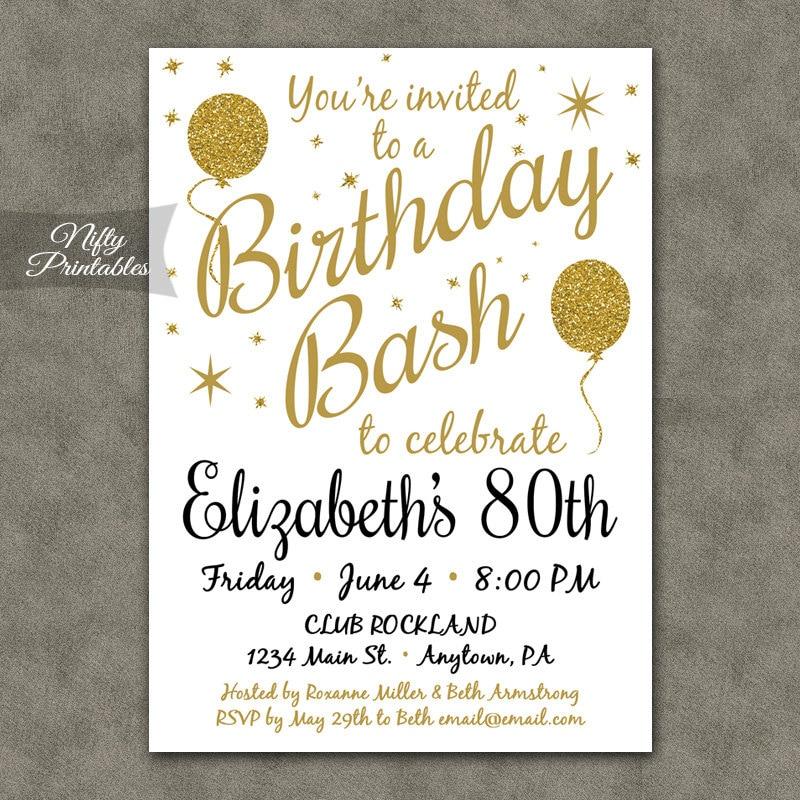 80th Birthday Invitations Printable 80th Birthday Party