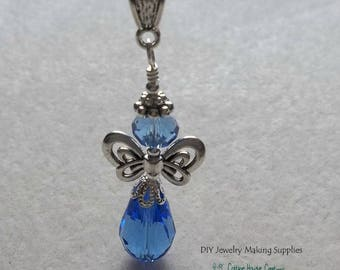 Sapphire Crystal Guardian Angel Crystal Pendant Charm fits Large Hole Beads