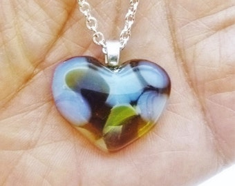 Recycled wine bottle glass mini heart pendant in yellow, brown, and frosted upcycled glass