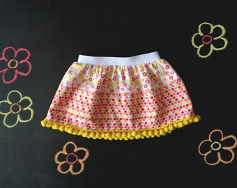 Baby girl pompom skirt, cotton skirt, flower print, polka dot baby shower, spring summer girl outfit, back to school, yellow orange red pink