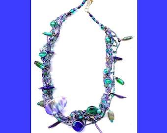 Lapis Sticks Blue Green Aqua Braided Treasure Trove Necklace