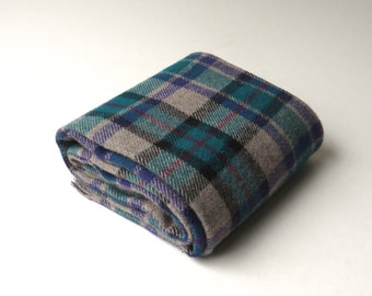vintage Green, Purple and Tan Plaid Winter Scarf