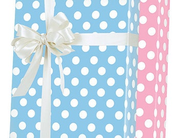 Blue White Pink White Double-Sided Polka Dot Gift Wrap Wrapping Paper 15ft Roll