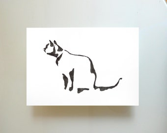 Minimal black and white cat print, cat glicee print, minimalist cat wall art, cat painting, cat print, modern cat print, cat illustration