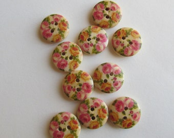 Tiny Roses Wooden 1cm buttons -  Pink and Orange roses.