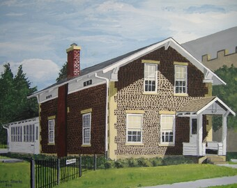 "Rasey House - Original acrylic painting by Norm Starks - Limited edition print, size: 14"" x 20"", unmatted"