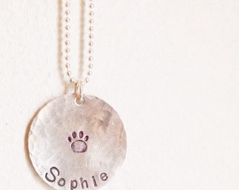 Personalized Hand Stamped Sterling Silver Necklace with paw print