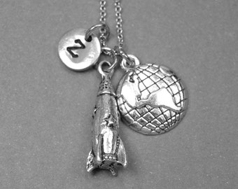 Rocket ship necklace, spaceship necklace, earth necklace, planet charm, rocket necklace, personalized necklace, initial necklace, monogram