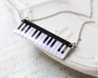Piano necklace, Piano keyboard necklace, Music gift, Music jewelry, Piano keys necklace, Piano pendant, Music necklace, Black white necklace