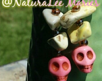 White Turquoise Stone Beads and Pink Stone Skull Drop Earrings NaturaLee Maries
