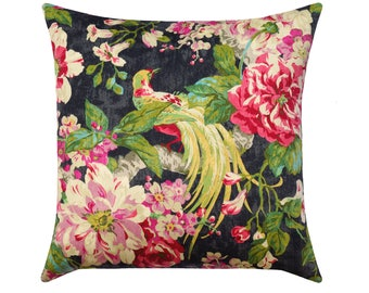 Colorful Pink Green Ivory Charcoal Grey Pillow, Vintage Style Floral Pillow Cover, Large Peony Pillows, Birds and Flowers Cushion Cover