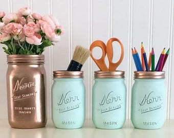 Rose Gold And Aqua Desk Set, Painted Mason Jars, Rose Gold Mason Jar, Desk Organizer, Pencil Holder, Bathroom Decor, Office Accessories