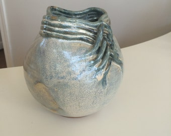 """Handmade Blue Mottled Pottery Vase Bowl ~7.5"""" Tall Excellent Condition Signed"""