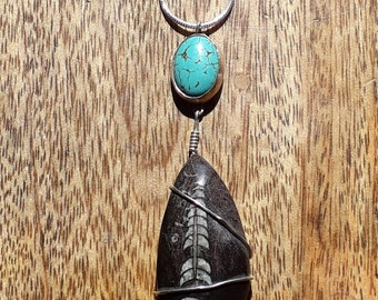 Turquoise and orthaceras fossil pendant necklace