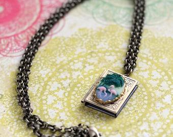 Pink Flamingo Necklace, Flamingo Locket Necklace, Flamingo Cameo, Cameo Locket, Bird Necklace, Tropical Jewelry, Cruise Jewelry Beach, SRAJD