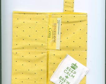 Tea Bag Wallet, YELLOW w-SPARKLES, Four Pockets,Handmade,Fabric FREE Shipping USa, Holds Tea & Sweetener - Also Travel Jewelry Wallet