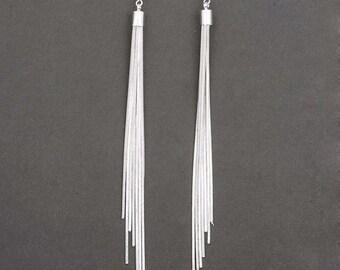 Silver Fringe Dangle Earrings