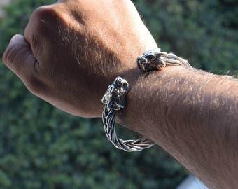 Mens 925 Sterling silver Sabertooth cat bracelet handmade.
