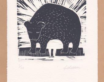 "Linocut ""Bear"" original print"