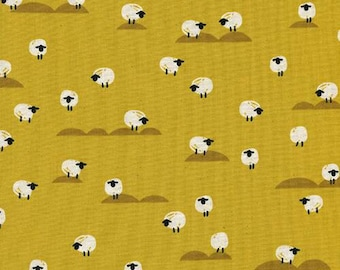 Cotton + Steel Panorama Sunrise - Sheep in Mustard - Yellow Sheep Fabric - Farm Animal Fabric - Unbleached Quilting Cotton - By the Yard