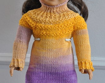 Hand Knit Sweater Dress for 18 inch Doll Dress - Yellow and Purple long sleeve sweater dress