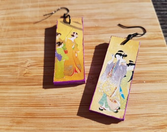 Graceful Geishas - light, long, wooden, elegant, delicate earrings