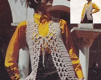 Womens crochet jacket vintage crochet PDF pattern crocheted vest sleeveless cardigan INSTANT download pattern only 1970s waistcoat