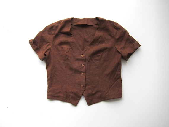 Dark Brown Linen Top | Boxy Woven Linen Blouse | Cropped Minimal Button Up Short Sleeve Natural Tee Womens Large