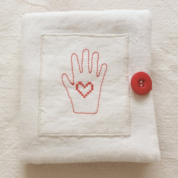 Shaker heart in hand embroidered cross stitch needlecase in red on vintage linen