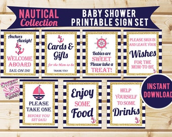INSTANT DOWNLOAD Printable Anchors Aweigh / Nautical Baby Shower Sign Set / 8x10 / Navy / Gold Glittler / Pink / Nautical Girl Collection