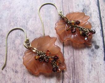 Brown Leaf Earrings, Brown Earrings, Leaf Earrings, Lucite Earrings, Swarovski Earrings, Fall Earrings, Autumn Earrings, Dangle Earrings