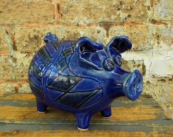 Blue Pottery Piggy Bank - Hand Made Cobalt Blue Piggy Bank - Stoneware Piggy Bank - Prissys Newberry Antiques
