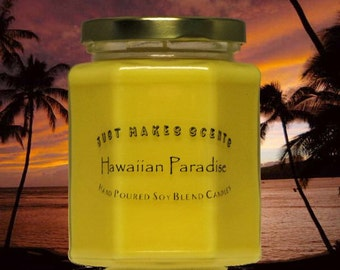 Hawaiian Paradise Scented Candle - Scented Soy Candle - Hawaiian Paradise Tropical Candle (Free Shipping on Orders of 6 or More)