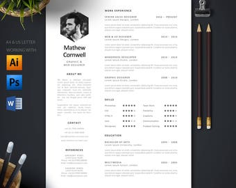 Modern Single Page Resume Template + Cover Letter | Professional and Creative CV | US Letter & A4 | Mac or Pc | Word, Photoshop, Illustrator