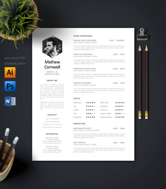 Modern Single Page Resume Template Cover Letter