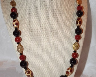 Black Onyx and Agate Necklace