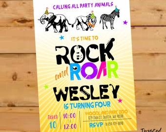 Jungle Birthday Invitation, Party Animal birthday invite, Rock and Roar, Safari, Zoo Birthday, Rock, Safari Birthday, Wild Animal Birthday