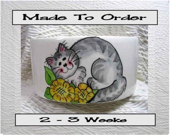 Striped Cat In Flowers Pet Bowl With Paw Prints Inside Medium Handmade 20 Oz. Ceramic GMS